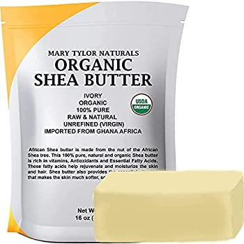 Organic Shea butter 1 lb — USDA Certified by Mary Tylor Naturals — Raw Unrefined Ivory From Ghana Africa — Amazing Skin Nourishment Eczema Stretch Marks and Body