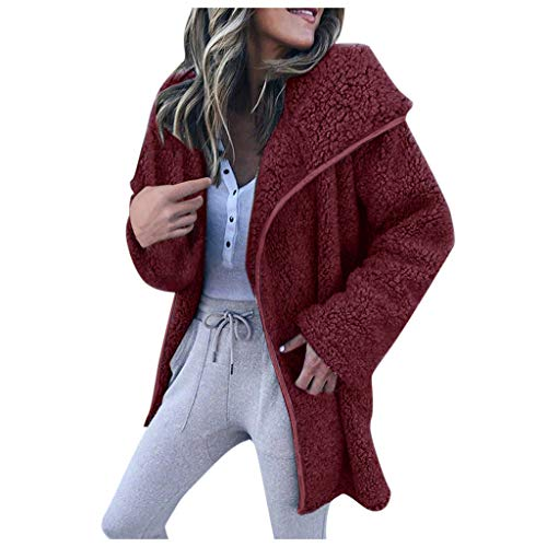 GOKOMO Frauen Langarm Revers warme JackeFrauen-Winter-Lange Hülsen-großer Revers-Wolljacken-Strickjacke-beiläufiger Jacken-Mantel(Wein,Medium)