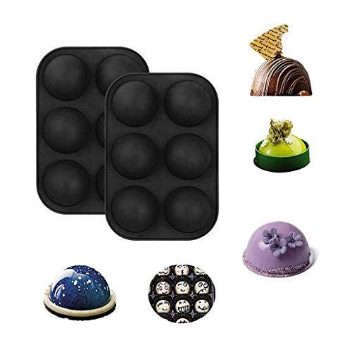 2020 6 Holes Silicone Mould For Chocolate, Cake, Jelly, Pudding, Handmade Soap, Round Shape Black 2PCS