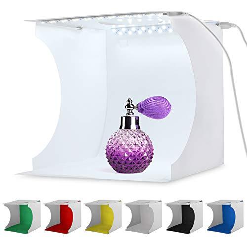 20 * 20cm-Studio fotografico portatile Mini Booth Servizio fotografico Tenda pieghevole Scatola luminosa con Luminosità 2x20 cubo LED Strip 8 6 colori Sfondo (Scatola leggera bianca della foto)