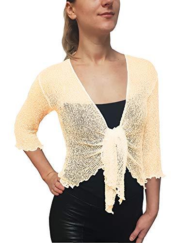 Mimosa Damen Crochet Strecken Fisch-Netz Boleroshrug Mutterschaft Krawatte an der Taille Cardigan (Eine Größe passt DE 34-48, Cream)