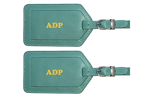 Personalized Monogrammed Turquoise Leather Luggage Tags - 2 Pack