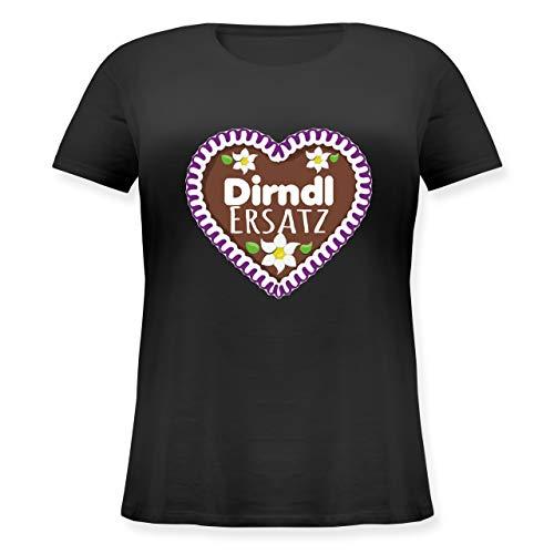 Oktoberfest Damen - Dirndl Ersatz Lebkuchenherz mit Blumen - lila - XL (50/52) - Schwarz - Geschenk - JHK601 - Lockeres Damen-Shirt in großen Größen mit Rundhalsausschnitt