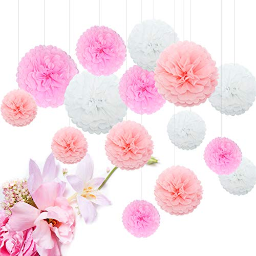 Feelshion 15er Pompoms Pompons Papierblume Set für Hochzeit babyparty gartenparty Wedding als kinderzimmer Deko