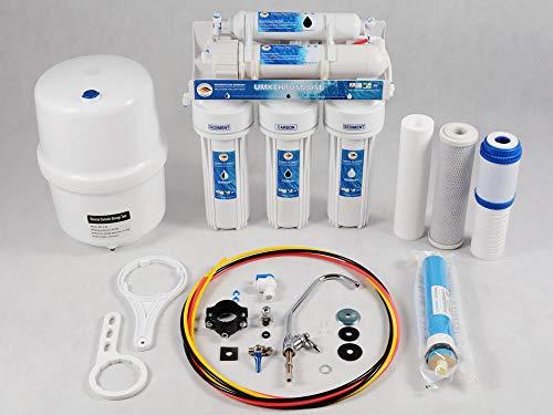 6 Stufen Umkehrosmoseanlage WASSERFILTER Germany - Deluxe mit BIOaktivkohle und Schaum-Kohlefilter - 75GPD Membran, 285L Trinkwasser täglich,ökologisch mit NSF ohne BPA