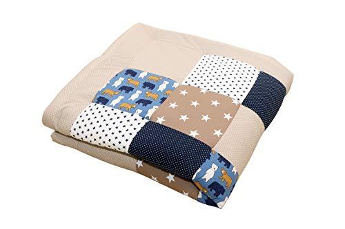 Tappeto per neonato ULLENBOOM ® sabbia, orso (100x100 cm, ideale come copertina per la carrozzina, adatta come tappeto gioco)
