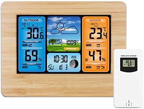 HCFSUK Relojes de Pared, termómetros de Interior, estación meteorológica Termómetro Digital Higrómetro Sensor inalámbrico Pronóstico de Temperatura Reloj Despertador de Escritorio de Pared