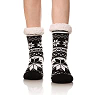 Women's Super Warm Fleece Lining Snowflake Slipper Socks Cozy Winter Socks