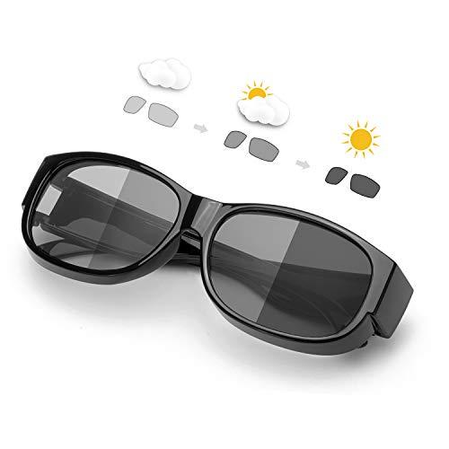 SIPHEW Photochrome Sonnenbrillen für Brillenträger Herren und Damen Antireflexbeschichtung 100% UVA/UVB schutz-Überzieh Sonnenbrillen