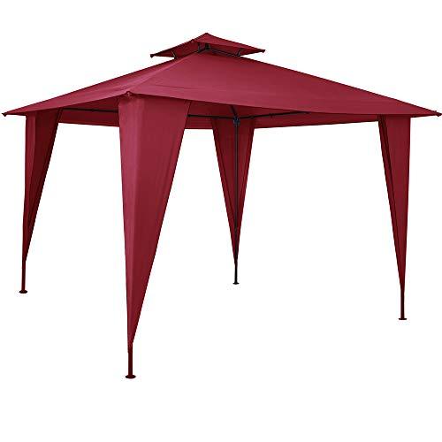 Pavillon 3,5x3,5m Gartenzelt wasserdicht Partyzelt mit Dachhaube UV-Schutz 50+ Festzelt Sairee Garten Terrasse Rot