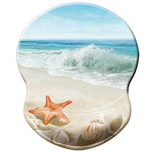 Mouse Pad, Ergonomic Mouse Pad with Gel Wrist Rest Support, Beautiful Beach Starfish Mousepad, Non-Slip Base Durable Gaming Mouse Pads for Computer, Laptop, Durable & Pain Relief