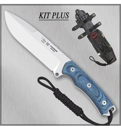 NIETO - 141-BKB PLUS. Cuchillo de supervivencia Nieto CHAMAN MACRO BÖHLER KIT PLUS. Mango de Katex azul. Herramienta para Caza, Pesca, Camping, Outdoor, Supervivencia y Bushcraft