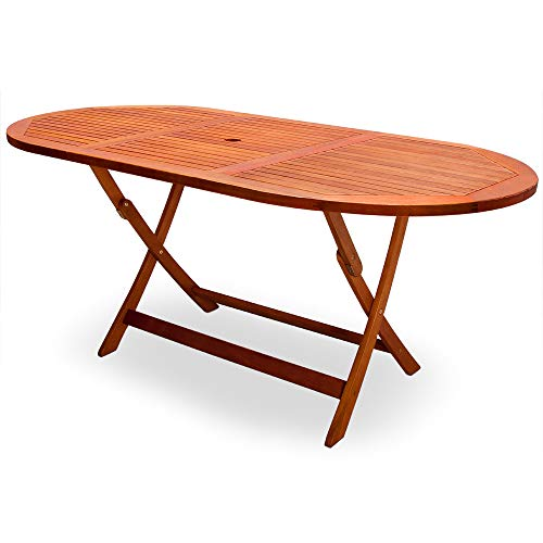 Deuba Mesa de Comedor de Madera de Acacia con Certificado FSC® Plegable 160x85x75cm para sombrilla jardín Exterior