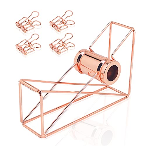 XBERSTAR Dispensador de cinta, soporte de rollo adhesivo de color oro rosa con 4 clips de carpeta para escritorio y oficina