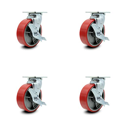 """Polyurethane on Cast Iron Swivel Top Plate Caster Set of 4 w/6"""" x 2"""" Red Wheels - Includes 4 Swivel w/Top Lock Brakes - 4800 lbs Total Capacity - Service Caster Brand"""