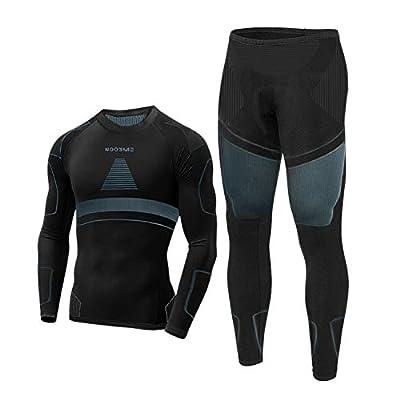 Thermal Underwear for Men Long Johns for Men, Base Layer Men for Cold Weather Black-Grey