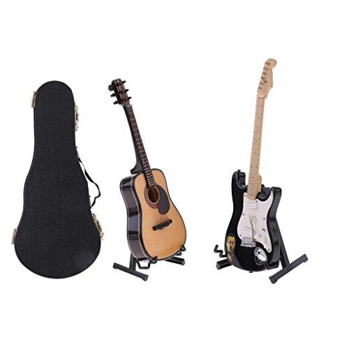 SM SunniMix 2 Piezas Mini Modelo de Guitarra de Madera para 1/6 de Acción Muñeca de 12 Pulgadas ACCS
