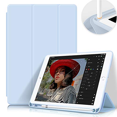 """Aoub iPad 2018/2017 9.7"""" Case 5th/6th Generation with Pencil Holder Thin Lightweight Smart Protective Stand Cover Auto Wake Up/Sleep for Apple iPad 9.7 Inch Model A1822/ A1823/ A1893/ A1954 Light Blue"""