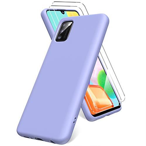 Oududianzi Cover per Samsung Galaxy A41, 2 Pellicola Protettiva in Vetro Temperato, Gomma Gel di Silicone Liquida Antiurto Custodia - Viola