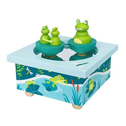 Trousselier TROUS95005 - Frosch & Babys - Tanzende Musikbox - Spieluhr - Ideales Geburtsgeschenk - 2 abnehmbare Figuren - Einfache Bedienung - Sound of Silence Musik von Simon & Garfunkel - Farbe blau
