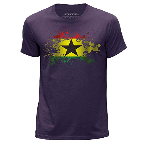 Stuff4 Heren T-Shirt/Ghana/Ghanese Vlag Splat/Ronde hals Casual Korte mouw 100% Organisch Katoen