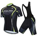AICTIMO Maillot Vélo Manches Courtes + Shorts Vélo Pantalon Cuissard VTT 3D Gel Coussin Rembourrés pour Homme à Bretelle Cyclisme Maillot 100024 XXXL