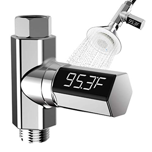 Synra Termómetro digital de ducha, monitor de temperatura del agua de 3.25 pulgadas x 3.25 pulgadas, pantalla LED giratoria de 360°,...