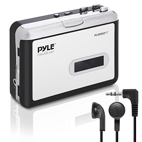 2-in-1 Cassette-to-MP3 Converter Recorder - USB Walkman Cassette Player - Portable Battery Powered Tape Audio Digitizer with 3.5mm Audio Jack Headphones- Pyle (PCASRSD17) , White