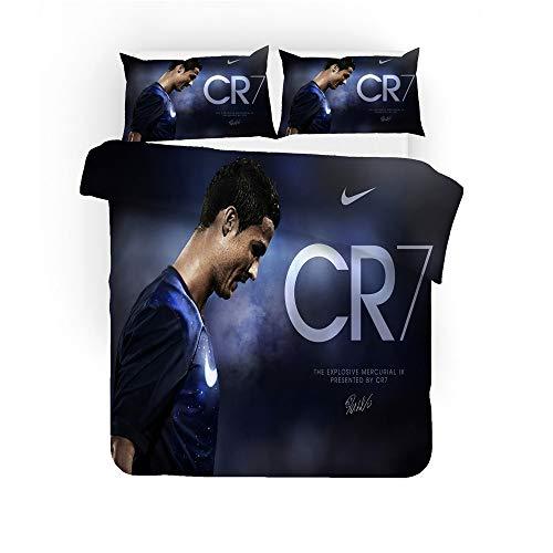 SK-PBB Cristiano Ronaldo Teenager Idol Haushalt Bettwäsche 3-teiliges Set mit Reißverschluss, 100% Mikrofaser Football Star 3D-Druck. (Ronaldo3,135x200cm)