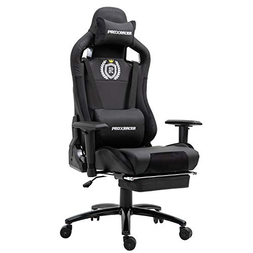 PROXRACER Massage Gaming Chair Office Chair with Footrest Racing Chair Heavy Duty E-Sports Chair for pro Gamer Seat Height Adjustable Multi-Function Recliner with Headrest and Lumbar Support Pillow
