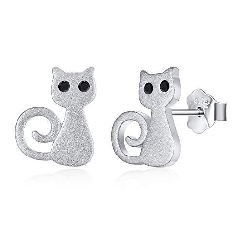 Kitty 3D Gato Pendientes Clavos Hipoalergénicos Plata de Ley 925 Gatos Monos Kitty con Cierre de Mariposa Joyería de Animales Infantiles para Mujeres Muchachas Grunulado