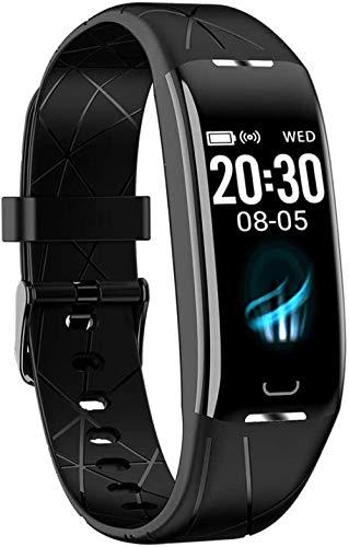 Pulsera inteligente para hombre y mujer, monitor de ritmo cardíaco, monitor de sueño, contador de calorías, color negro