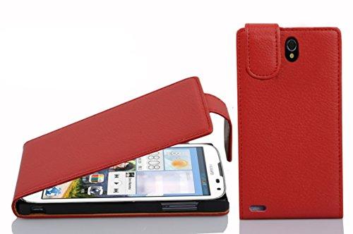Cadorabo Hülle für Huawei Ascend G610 - Hülle in Inferno ROT – Handyhülle aus Strukturiertem Kunstleder im Flip Design - Hülle Cover Schutzhülle Etui Tasche