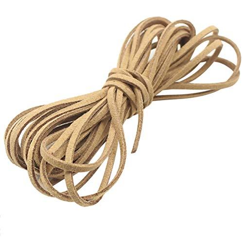Libartly DIY Collar De Gamuza Cuerda DIY Material De La Pulsera Accesorios De Joyería De Bricolaje Vintage Hecho A Mano con Cuentas 3Mm Collar De Gamuza Coreana Cuerda - Caqui