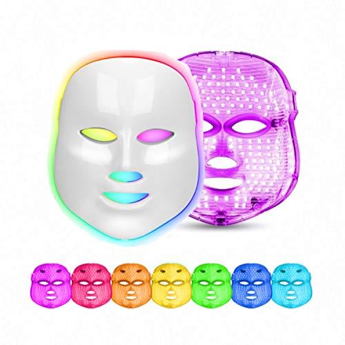 obqo Mascara Luz LED Facial Profesional 7 Colores Azul Roja Fotón Terapia de luz Rejuvenecimiento de piel para la de arrugas de acné Anti Tratamiento Facial para el cuidado de la piel (Blanco)