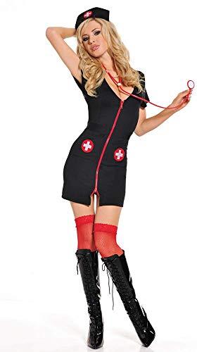 Lady Lingerie Black Witch Nurse Uniform Temptation Suit Game Cosplay SM Mini Vestido, Pijama Honda