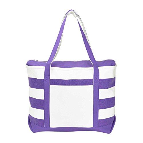 DALIX Striped Boat Bag Premium Cotton Canvas Tote in Purple