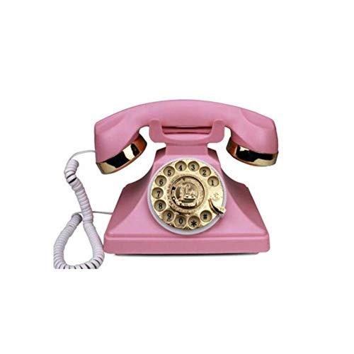 zvcv Teléfonos Antiguos Teléfono con Cable de Color Rosa Oscuro Disco de Disco Giratorio Teléfono Retro en el Estilo sinuoso de la Campana electrónica Moderna Utiliza una Toma de teléfono estándar