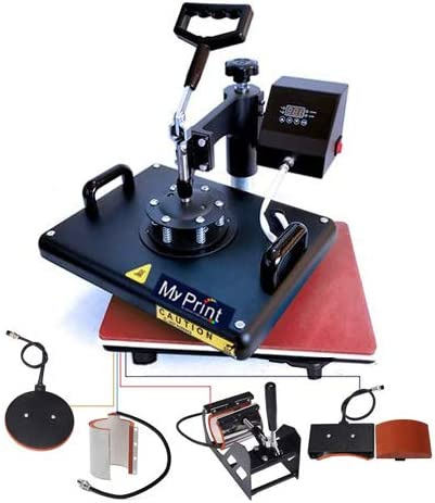 MY PRINT   Heat Press 5 in 1 Digital Multi Functional Sublimation, Vinyl Printing Machine for T-Shirts (Any Flat Prod...