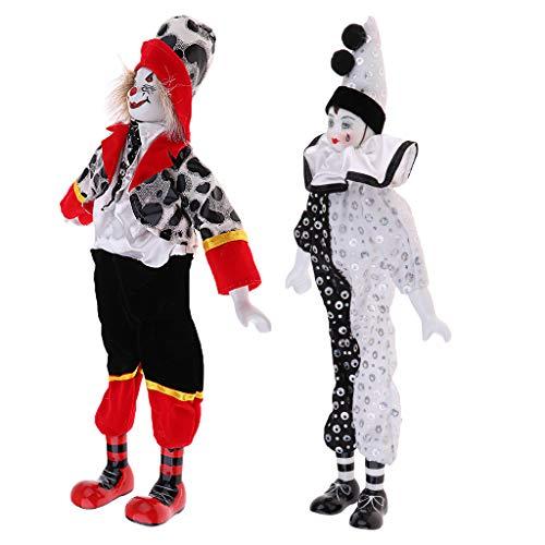 Fenteer 2pcs Lustige Clown Mann Porzellan Harlekin Puppe im Kleidung Spielzeug Halloween Dekoration Sammlerstück