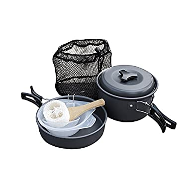 Camping Cookware, Camping Equiment with 9pcs Lightweight Aluminium