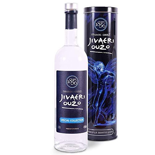 Ouzo Jivaeri Special Collection 0,7l   40% Vol.   3-fach destilliert   Älteste Ouzo Destillerie der Welt   Edle Alu-Geschenkbox
