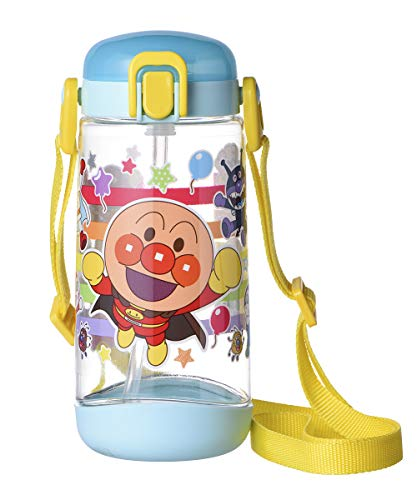 レック アンパンマン クリア 水筒 ボトル ( ストロー タイプ ) 450ml ワンタッチオープン ブルー