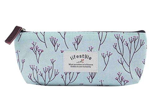 SAMGU Rétro Fleur Floral Crayon Pen Toile Sac Maquillage Cosmetic Purse Pochette de Rangement Couleur Bleu