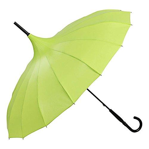 VON LILIENFELD® Regenschirm Mode Damen Sonnenschirm Brautschirm Hochzeitsschirm Pagode Cécile Limone metallic