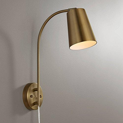 Sully Modern Wall Lamp Warm Brass Plug-in Light Fixture Adjustable Head Curved Arm for Bedroom Bedside Living Room Reading - 360 Lighting