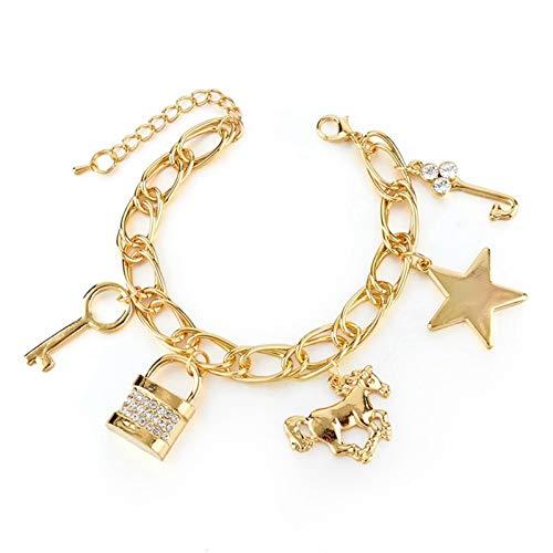 CLEARNICE Pulseras y brazaletes de Caballo con Encanto de Estrella de Amor Dorado para Mujer, joyería de Cristal, Regalo, Pulsera de Acero Inoxidable, Longitud 21 Cm