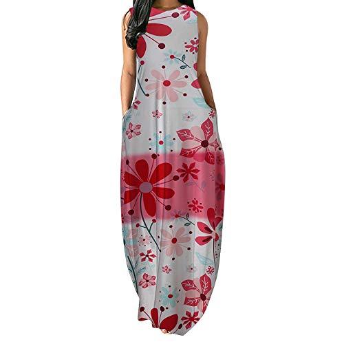 Vestido largo de playa Boho para mujer, sin mangas, suelto, liso, con cinturón dividido, casual, chaleco largo
