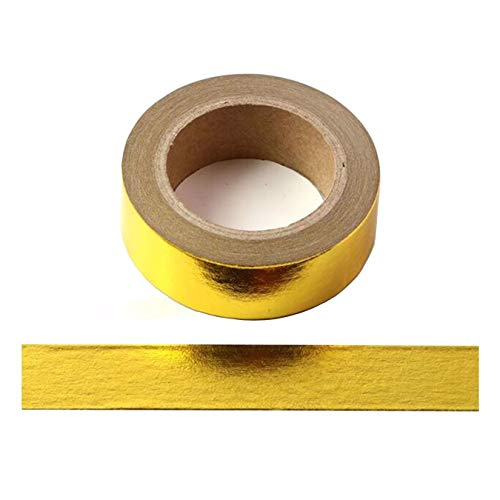 2 Rollos 10mx15mm Washi Tape Set Glitter Pintura metálica Cinta adhesiva Cinta decorativa DIY Scrapbook Crafting (Dorado)