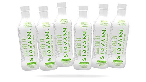 Siovann | Agua de Mar Body Balance aroma Lima Limón | Bebida refrescante enriquecida con Zinc, Magnesio, Colágeno, Ácido Hialurónico, Vitaminas y Aminoácidos | Pack 6 botellas 500 ml.